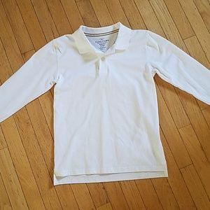 Boys Size 10-12 Large White Polo Shirt